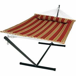Sunnydaze Decor Red Quilted Double Fabric Hammock w/ Spreade