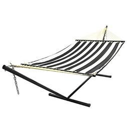 Sunnydaze Home Decor Black Quilted Double Fabric Hammock w/