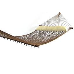 Sunnydaze Home Decor Polyester Rope Hammock with Pillow-Brow