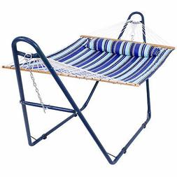 Sunnydaze Quilted 2-Person Hammock and Universal Blue Steel