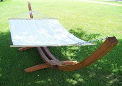 """14"""" Teak Stain Wood Arc Hammock Stand & Quilted Beige Color"""