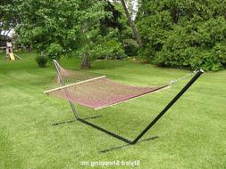 Two Person Brown Rope Hammock Set with 15 Foot Long Iron Sta