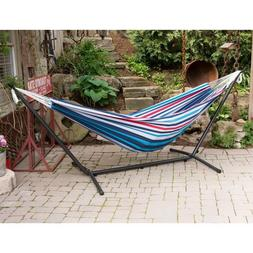 Vivere UHSDO9 Double Hammock with Space-Saving Steel Stand -