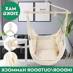 US Large Patio Hanging Swing Egg Chair Hammock With Cushions