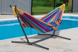 Vivere Double Tropical-Style Hammock with Stand Combo and Ca