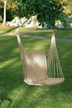 WHITE COTTON PADDED SWINGING CHAIR PORCH GARDEN PATIO TREE S